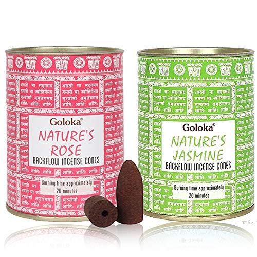 Goloka - Conos de incienso (2 unidades, incluye 36 conos (aroma de rosa y jazmín)