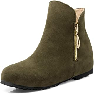 Women Winter Flat Ankle Boots Slip On Warm Zipper Comfortable Roma Round Toe Casual Work Boot