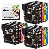 Kingjet LC980 - Cartuchos de tinta de repuesto para Brother LC980 LC1100 para Brother MFC-490CW DCP-195C DCP-6690CW DCP-375CW DCP-585CW DCP-195C DCP-197C MFC-5890CN MFC-6490CW DCP-385C (6BK/3C/3M/3Y)
