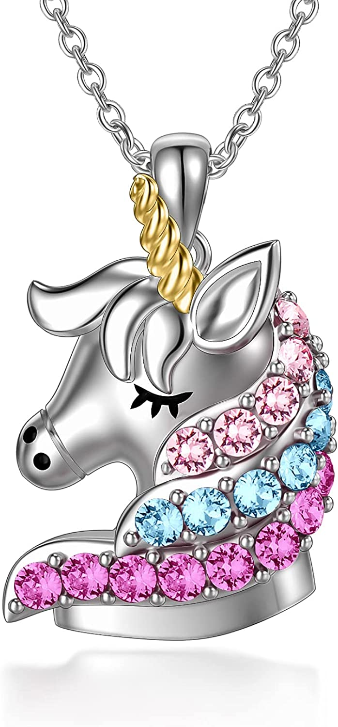 Sterling Silver lowest price Unicorn Necklace Crystals Pink Quality inspection with Bir