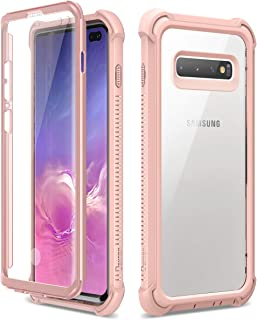 Dexnor Funda Samsung Galaxy S10 Plus Carcasa con Parachoques de Silicona de 360 Grados [A Prueba de Golpes] [Ligero] Panel Posterior Transparente Protector de Pantalla Incorporado - Rosa