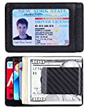 Money Clip Front Pocket Wallet Leather RFID Blocking Thin Wallet Carbon Fiber ID Window