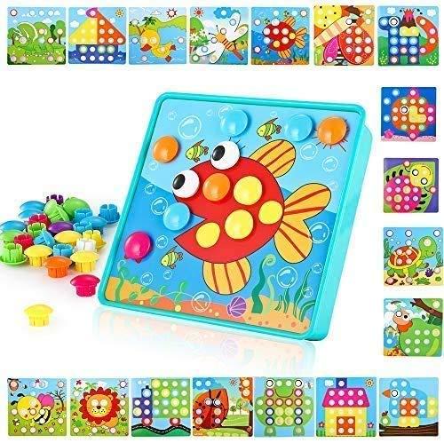 TINOTEEN Uñas Setas Juguete Educativo Temprano para niños y bebés con 50 Botones y 18 imágenes