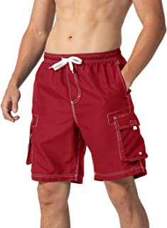YSENTO Mens Swim Shorts Surfing Beach Shorts Swimming Trunks with Mesh Lining Bathing Suit Trunks