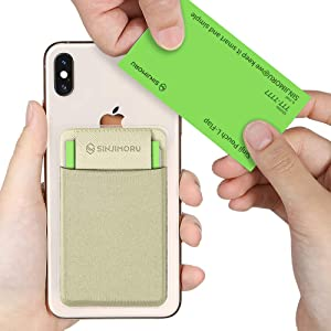 Sinjimoru Business Card Holder for Back of Phone, Reusable iPhone Stick on Wallet, Credit Card Holder for Smartphone. Sinji Pouch L-Flap, Beige