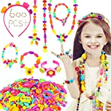 HOWAF 600+PCS Children DIY Beads for Jewellery Making, Beads for Toddlers Kids Making Friendship Bracelet Necklaces Rings Hairband, Beads Set for Girls Kids Art Craft Creativity Toys Gift Birthday