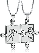 Onefeart Stainless Steel Necklace for Women Men Funny Couple Caricature Pattern Puzzle Design 45X33MM