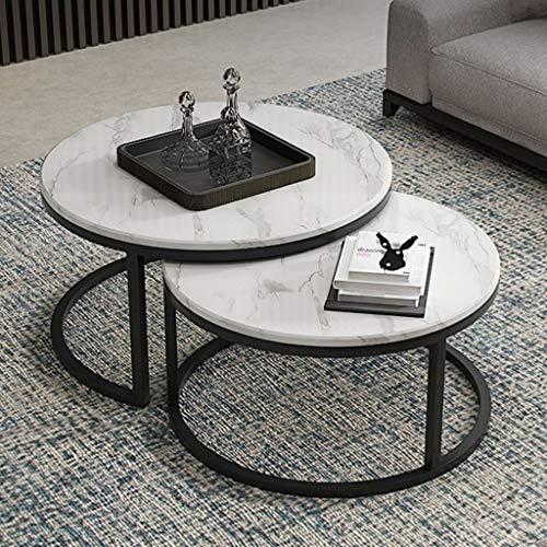 Nesttafels Set van 2, eenvoudige ronde salontafel/voor bijzettafeltje woonkamer wit marmer/zwart metalen ijzeren frame (27,5  x16,5  / 23,6  x14,5 )