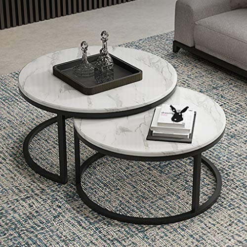 Set di 2 tavolini Estraibili, tavolino da caffè Rotondo Semplice/per Tavolo da Salotto di casa con Struttura in Marmo Bianco/Metallo Nero (70 cm x 42 cm / 60 cm x 37 cm)