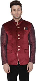 Men's Velvet Casual and Festive Indian Jodhpuri Grandad Bandhgala Blazer