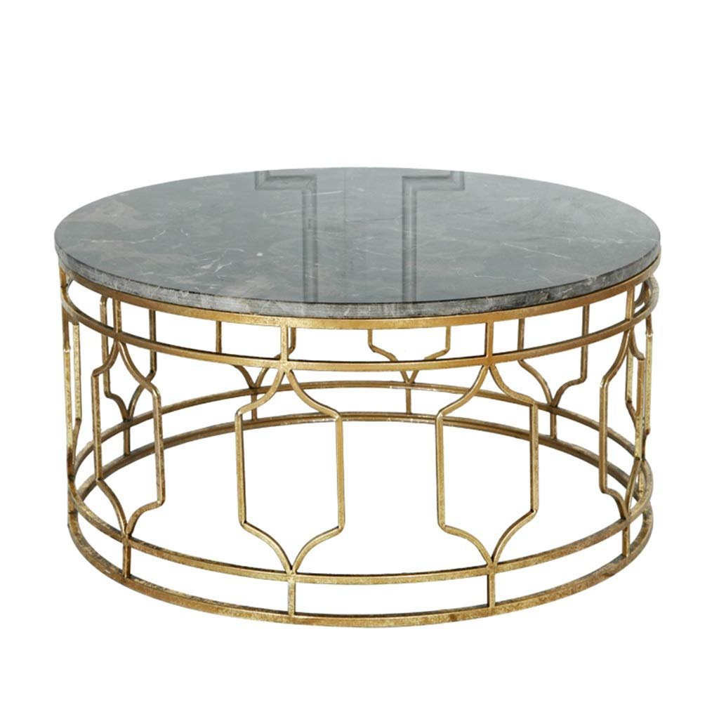 - Vintage Living Room Coffee Table, Marble Tabletop, Wrought Iron