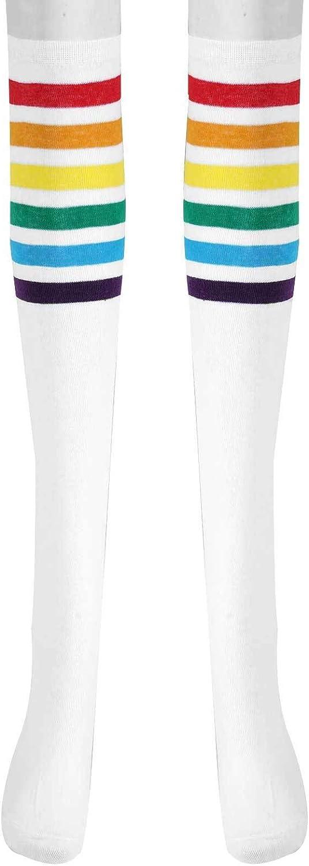 JEATHA 1 Pair Women Cotton Knit Knee Thigh High Socks Rainbow Stripes Tube Boot Socks Long Stockings for Dress Trouser