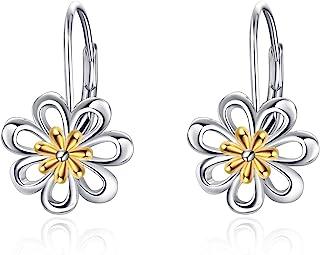 LUHE Daisy Earrings,Rose Earrings,Lotus Earrings,Sunflower Earrings Sterling Silver Gold Plated Filigree Flower Leverback Dangle Earrings for Women Girls