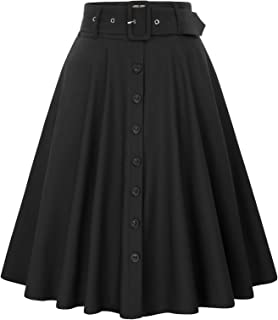 Belle Poque Women's Stretch High Waist A-Line Flared Midi Skirts with Pockets & Belts