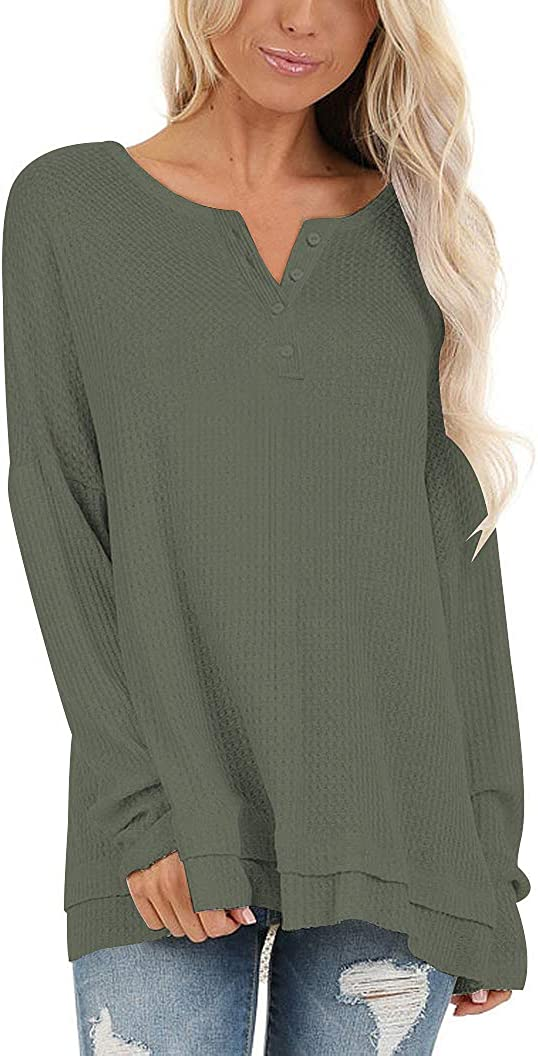 ZZER Women's Casual Waffle Knit Twist Knot Tunic Tops for Leggings Blouse Lightweight Pullover Sweaters