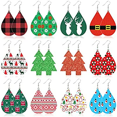 Amazon - Save 75%: 16 Pairs Leather Earrings for Women Girls Party, Lightweight Teardrop Fa…