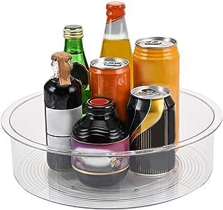 Lazy Susan Turntable Condiment Holder, Rotatable Spice Rack , Plastic Kitchen Cupboard Storage, Transparent Kitchen Organi...