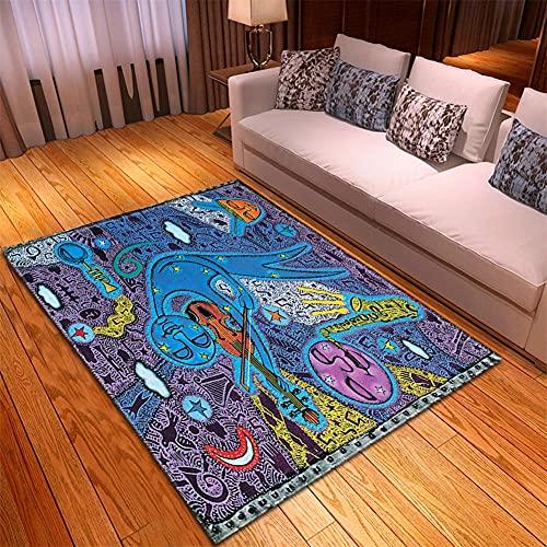 Alfombra Salon -130x190cm Azul Amarillo Violeta, Alfombra Modernas Grandes Pelo Corto, Alfombras Cocina Antideslizante Lavables, alfombras baño, Alfombra Infantiles habitacion, Dormitorio alfombras