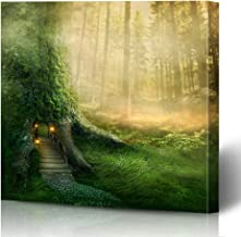 Ahawoso Canvas Prints Wall Art Printing 16x16 Green Fairy Dark Fantasy Tree House Forest Abstract Nature Magic Fairytale Tale Fog Enchanted Door Painting Artwork Home Living Room Office Bedroom Dorm