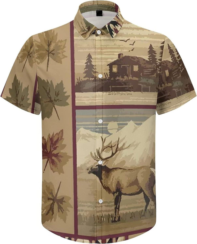 Hawaiian Shirts for Men Rustic Bear Moose Lodge Printed Beach Shirt Hawaiian Shirts