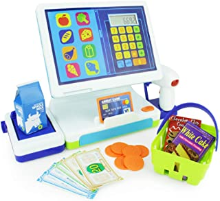 Boley Millennial Tablet Toy Cash Register - Cashier Station with AA Battery Calculator, Play Scanner and Credit Card Reader, Play Food, Pretend Money - Great Learning Resources for Your Toddler!