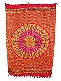 Sarong Pareo Mandala Maya II rot-gelb/große Auswahl schönste Farben/Wickelrock Strandtuch Sauna-Tuch Wickelkleid Schal Wickeltuch Bademode Freizeitmode Sommermode/aus 100% Viskose
