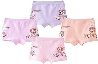 Shentukeji Girls Toddler Cotton Underwear Bike Cute Pattern Boyshort Underpants 4 Pcs Pack