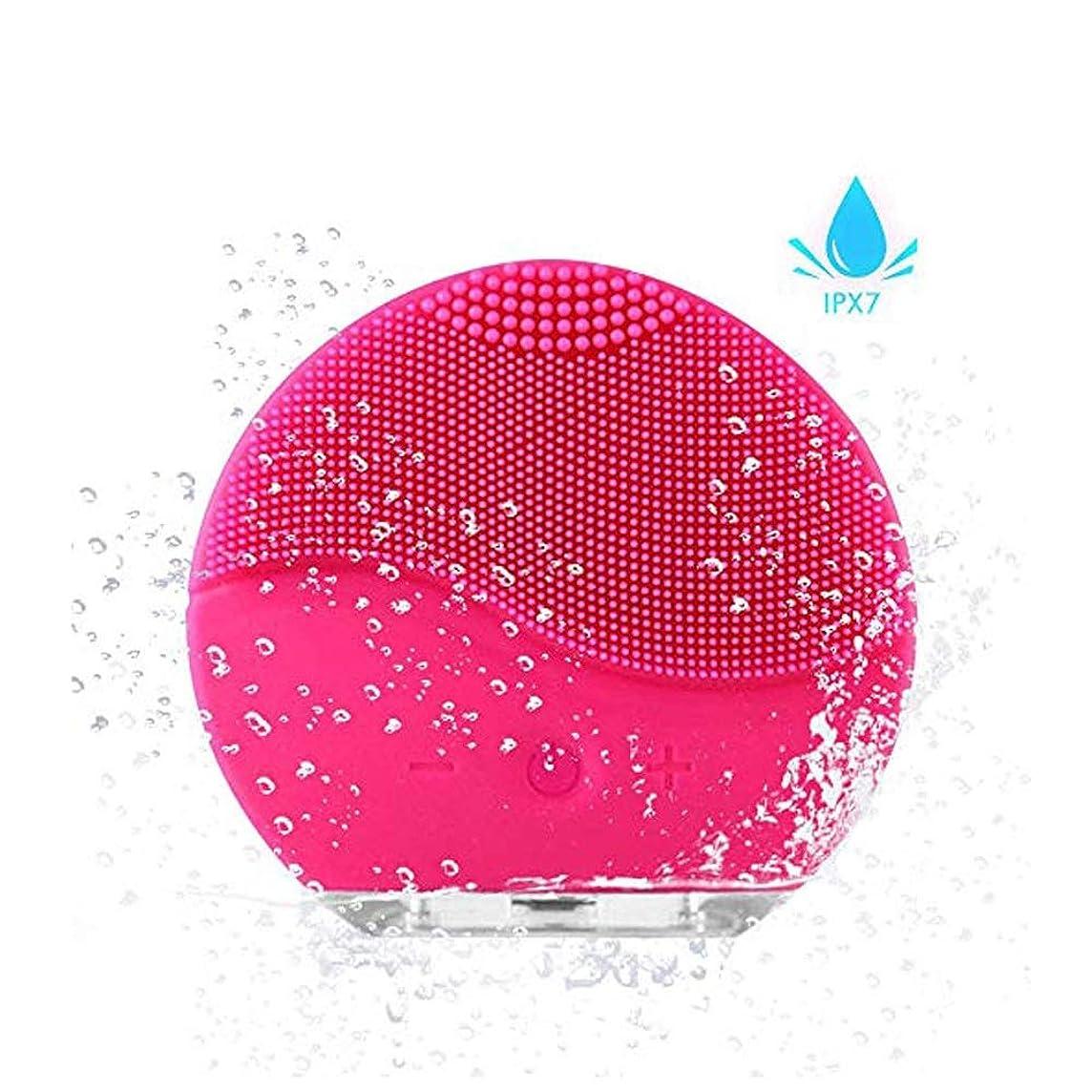 修正する正当化するバクテリア洗顔用フェイスブラシ ディープクレンジングスキンケア用フェイシャルクレンジングブラシ、防水シリコンフェイシャルクリーナーおよびMasagerエレクトリッククレンジングシステム