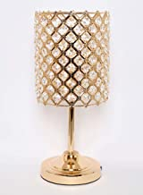 Homes r us Table Lamp With Crytal Design, Gold - 17 x 40 cm