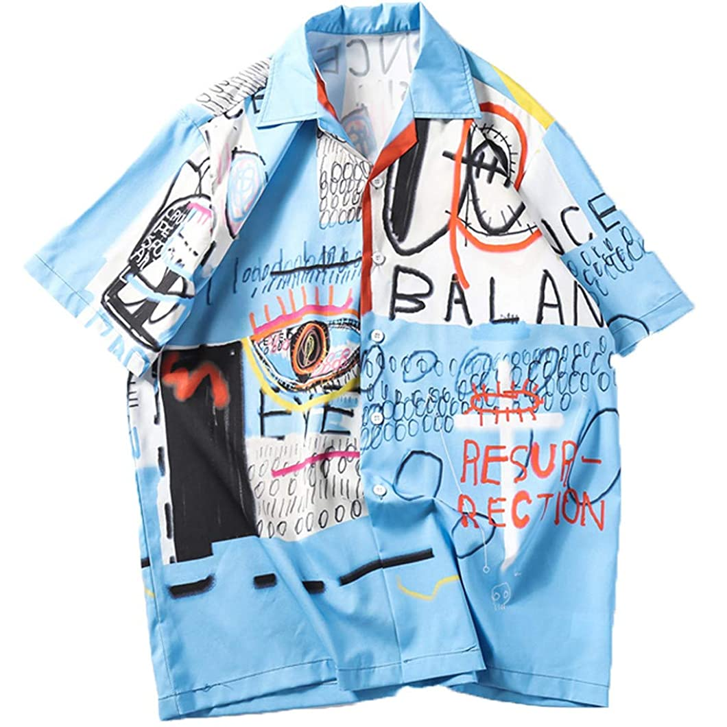 Mens Fashion Shirts Casual Short Sleeve Beach Tops Loose Casual Blouse vcuxjtp61