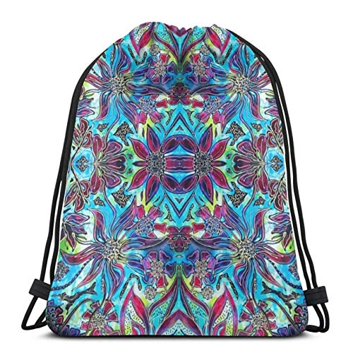 Floral Fantasy Collection - Flower Frenzy Fiesta Sport Bag Gym Sack Drawstring Backpack for Gym Shopping