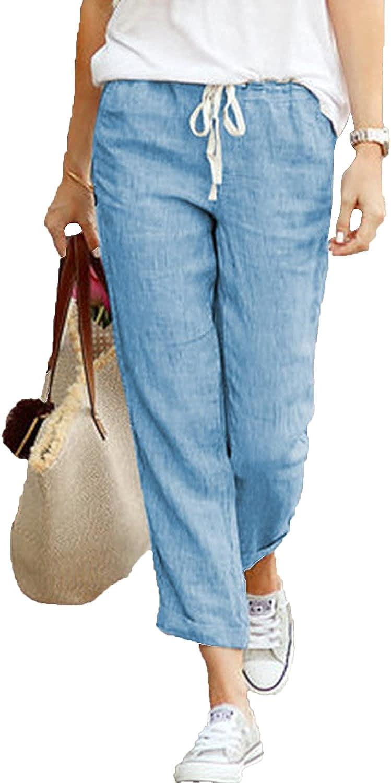 Women's Drawstring Trousers Tapered Cotton Linen Back Elastic Waist Casual Pants Jogger Bottom Lounge Sportpants (X-Large,Blue)