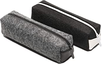 DIYOMR مجموعه ای از 2 سبک ساده سبک قلم مو مداد ابرو دستگیره لوازم التحریر مورد کیسه های کوچک وسایل کیسه ای فلزی کیسه زیپ برای قلم، مداد، لوازم آرایشی و بهداشتی و دیگر کالاهای مدرسه، سیاه و خاکستری تیره