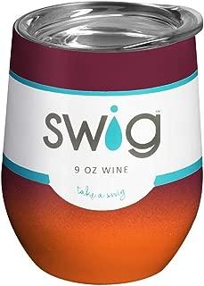 Swig 9oz Stemless Wine Cup - Maroon/Orange