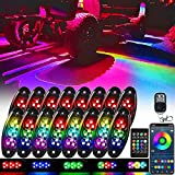 icicar Rock Lights RGB LED Rock Lights for Trucks Jeep App Control Waterproof with Dual Remote Underglow Lights for Trucks - 16 Pods