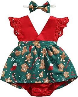 طفلة رومبير الرضع سانتا البيت منقوشة ندفة الثلج طباعة يطير كم المنشعب أزرار اللباس شكل بذلة (Color : Green, Size : 3M)