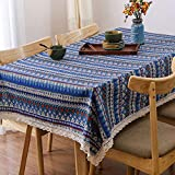 AMZALI Vintage Bohemian Style Geometric Design Pattern Decorative Macrame Lace Tablecloth Washable Dinner Picnic Cotton Linen Fabric Decorative Table Top Cover (36 Inch x 55 Inch)