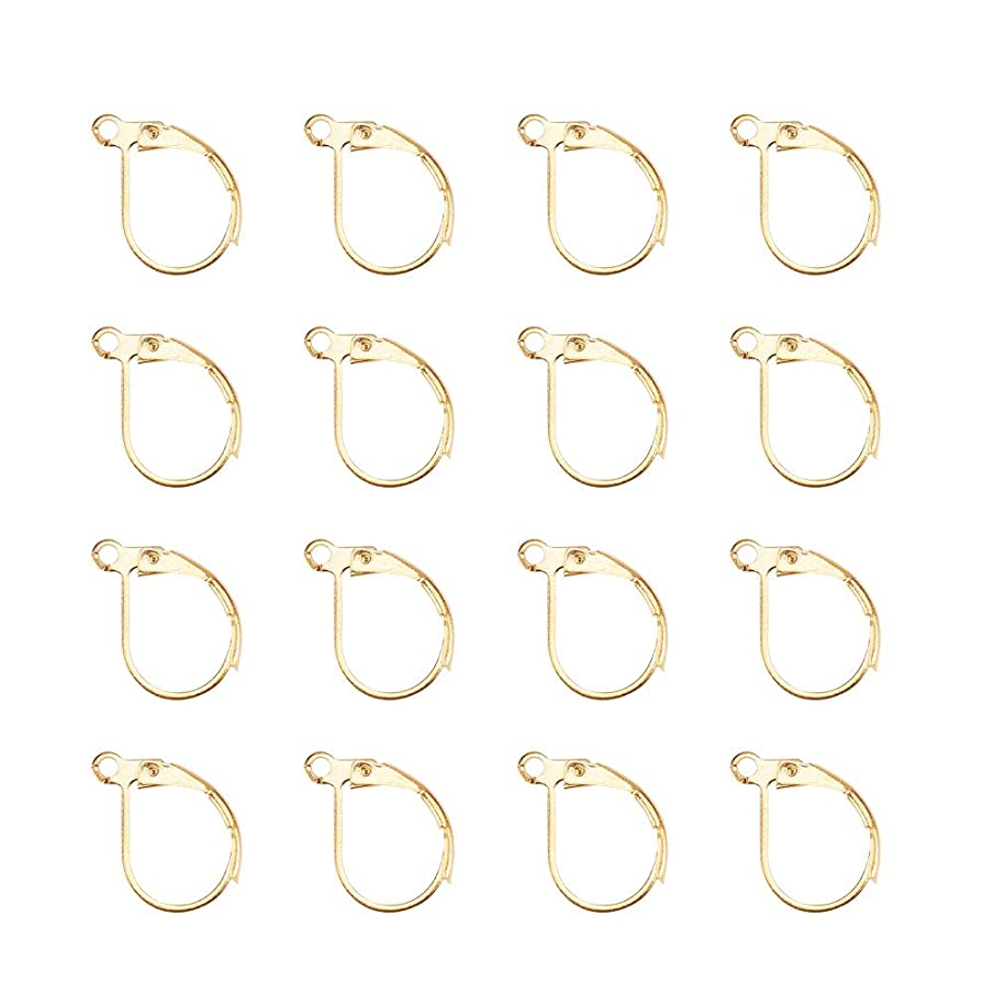 Pandahall Elite 100 Pcs 15mm Brass Earring Components Lever Back Hoop Earrings Lead Free and Cadmium Free Golden for Jewelry Making Findings