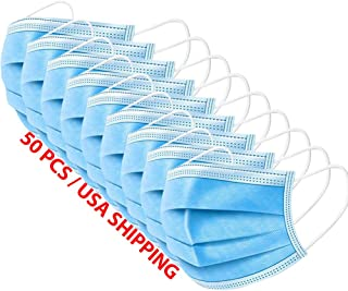 (50 pcs US Shipment) BDTTBZ Disposable Face Mask, Breathable Earloop 3-Layer Non Woven Protective, Safety Filter Dust Masks for Personal Care, General Size for Adults and Children Daily Use, Blue