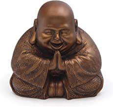 Buddha Groove Majestic and Cheerful Happy Buddha (Hotei) Statue in a Rich Bronze Color & Detailing on All Sides   Made of Polystone for Indoor Use   7.5 x 7.5 Inches