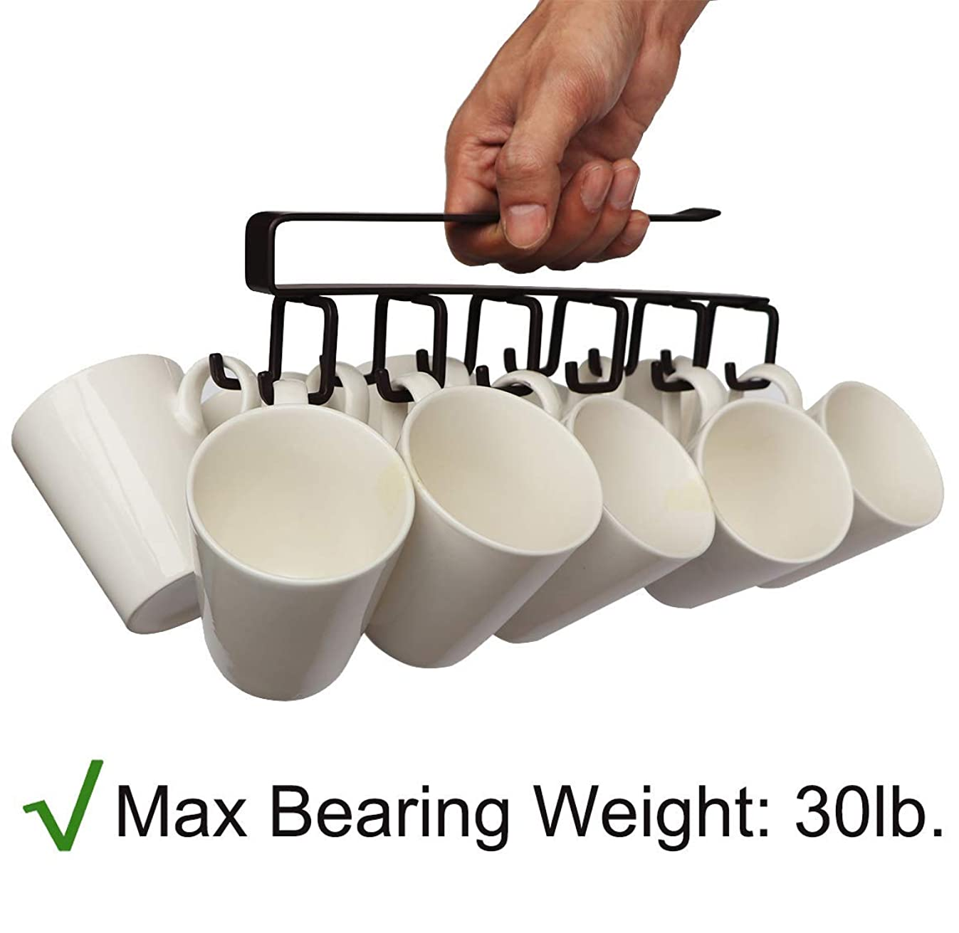 Multifunction Nail Free 6×2 Hook Mug Holder Under Shelf Mug Hooks Rack Hanger Coffee Cup Holder for Kitchen,Armoire,or Any 0.78-1inch Thickness Shelf(Brown)