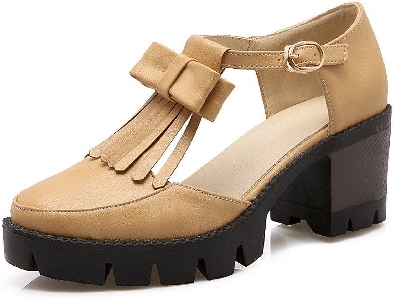 WeenFashion Women's Buckle Closed Toe Kitten Heels Pu Solid Sandals