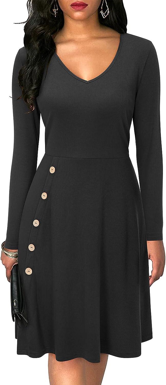ULTRANICE Women's Long Sleeve V Neck Knit Ribbed Midi Dress Button Side Swing A-line Sweater Dress