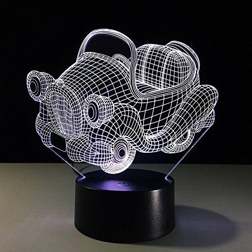 3D Illusion Lampe Led Nachtlicht Lampen,Retro Schaukel Auto Tischlampe Kinder Nachttischlampe 7 Farben Ändern Schreibtischlampe Für Kinder Weihnachten Geburtstag Beste Geschenk Spielzeug