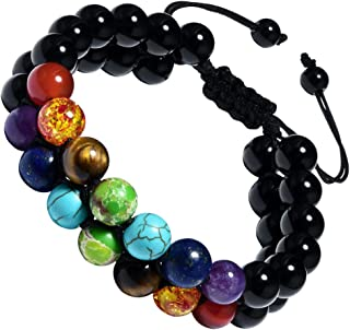 Cat Eye Jewels 8mm Natural Healing Stones Beads Bracelet Double Triple Layered Adjustable Macrame Mens Bracelet
