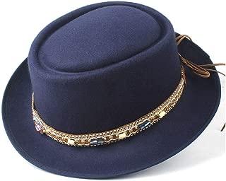 2019 Mens Womens Hats Unisex Men Women Flat Top Hat Autumn Pork Pie Hat with Belt Winter Outdoor Travel Hat Church Fascinator Hat Jazz Hat Adjustable Size 56-58CM (Color : Dark Blue, Size : 58)