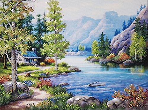 Beadpoint kit Mountain Lake Landscape Bead Embroidery Pattern Summer Landscape...