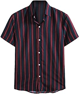 Men Short Sleeve Shirt Tops, Male Striped Printed Button Tee Shirt Blouse Casual Top