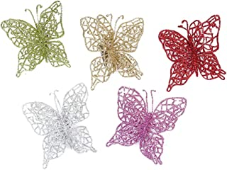 Vosarea 20pcs Glitter Butterfly Ornament DIY Craft Butterfly Clip Christmas Butterfly for Christmas Tree Party Wedding Bedroom Decor (Gold+Silver+Green+ Purple)