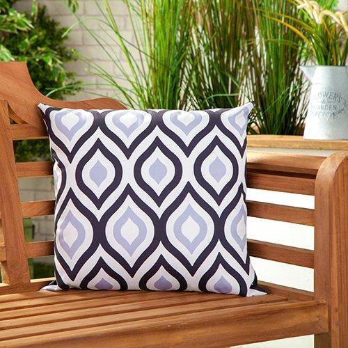 Gardenista Cojín Relleno Resistente al Agua y para Exteriores | Diseño con Patrones Coloridos | Accesorio para Muebles de Jardín| Almohadas Decorativas de | 45 x 45 cm (4 Piezas, Black/Grey)